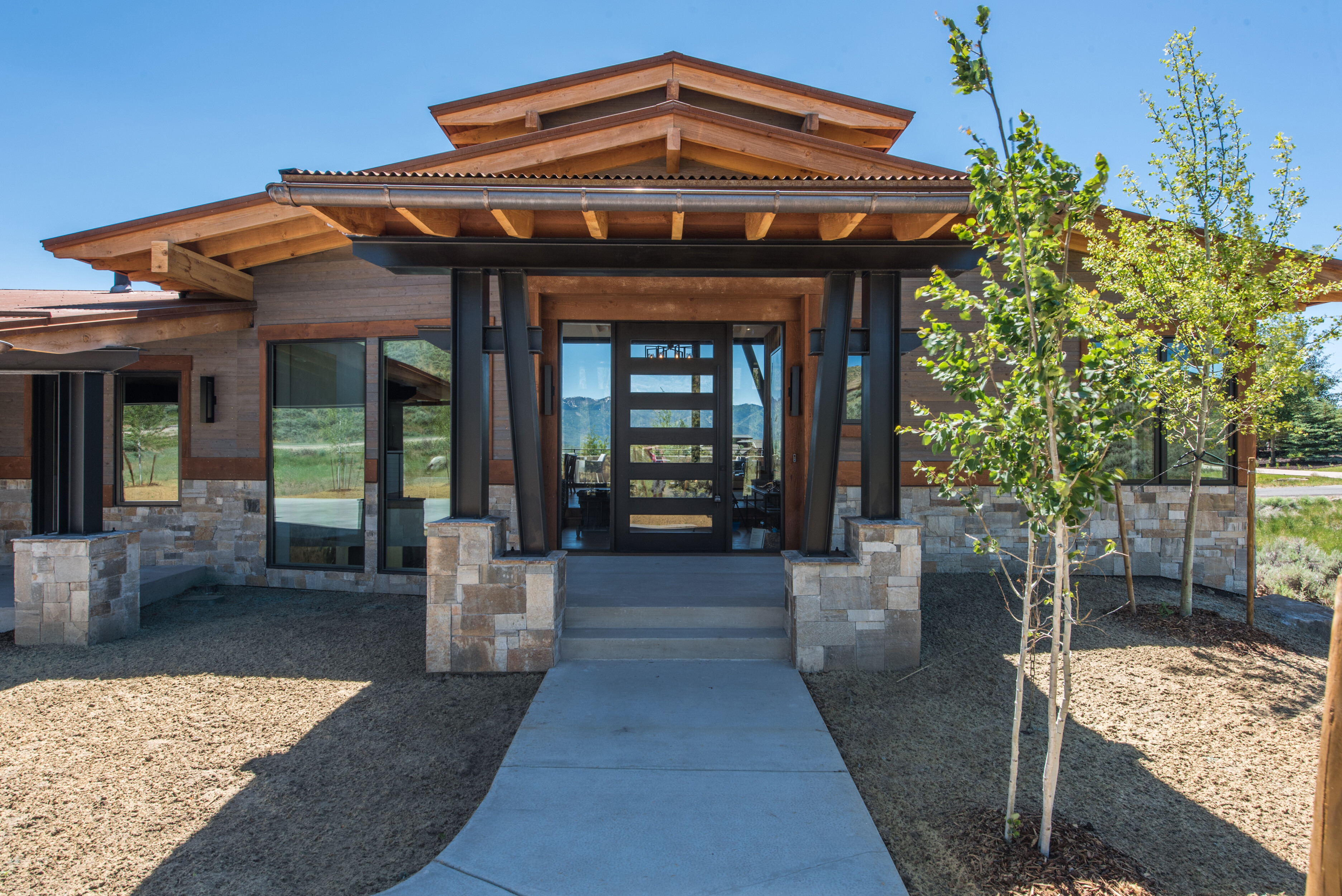 Park city utah modern rustic home using a mixture of - Rustic home exterior color schemes ...